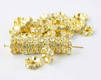 10.5mm Roundel Gold Plated Pave Beads with Clear Rhinestones,Rhinestone Spacers,Scalloped WAVY EDGE Basketball Wives