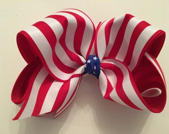Stars and Stripes Forever Red and White Striped Jumbo July 4th Bow Red White Blue Hair Bow Patriotic Bow July 4th Hair Bow Royal Blue Stars