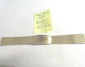 Vintage 1960s Mira-Flex USA Gold Filled Band 17mm Ends 6 1/4 inches long