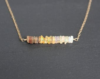 Opal Bar Necklace, Ethiopian Opal Necklace, October Birthstone, Ombre Necklace, Dainty Opal Necklace, Dainty Necklace, Gemstone Necklace
