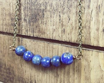 Lapis lazuli necklace, Lapis jewelry, Lapis necklace, Summer jewelry, Bohemian Necklace, Bead bar necklace, Blue necklace