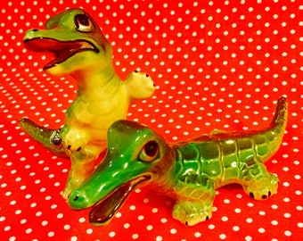 Norcrest Anthropomorphic Crocodiles Alligators Salt and Pepper Shakers made in Japan circa 1950s