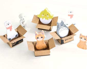 In Box Notes, Sticky Notes Post-It, Kawaii Stationary, Totoro, Cat, Bear, Chick