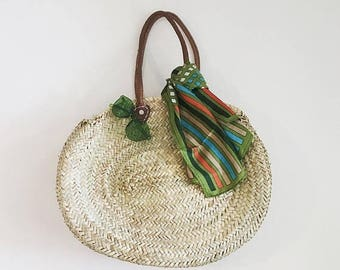 VACATION SALE French Market Basket Woven Beach Bag & Tote Moroccan Straw bag