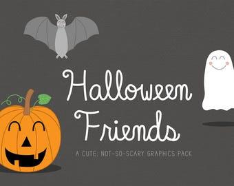 Halloween Clip Art, Cute Halloween Graphics, Pumpkin Clip Art, Ghost Clip Art, Digital Paper, Bat, Spider, Black Cat, Commercial Use