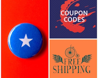 Somalia Flag Button Pin or Magnet, FREE SHIPPING & Coupon Codes