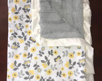 Yellow Flower Baby Minky Blanket