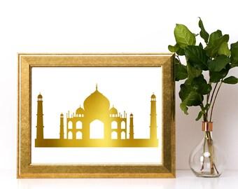 Gold foil print,Taj-Mahal wall art,gold foil, foil print,gold foil wall art,gold foil art,foil art,Taj-Mahal print,Taj-Mahal art