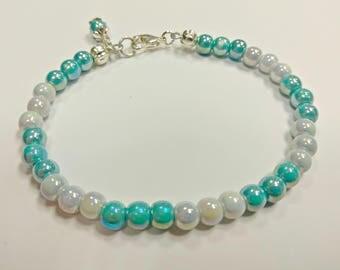Blue beaded bracelet, porcelain bracelet