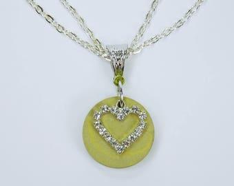 Necklace concrete Heart with green concrete-concrete jewelry unique silver-colored double link chain concrete jewelry green Heart Valentine's Day