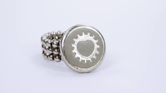 Ring Heart Gear Concrete jewelry steampunk ring concrete with silver-colored gear-steampunk gears elastic Ring bracelet-heart concrete ring