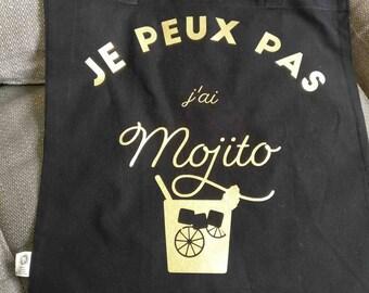 """Tote Bag """"I can't I Mojito""""-organic cotton"""