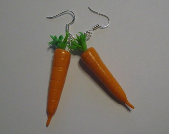 carrots earrings fimo polymer clay