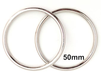 Extra Large SILVER o-rings 50mm ID / Extra Large o Rings / Jumbo O Ring / Strap Hardware / O rings / Set of Two O Rings