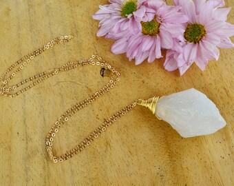 Quartz titanium, quartz titanium necklace, quartz pendant necklace, long necklace with pendant,white quartz necklace, natural stone necklace