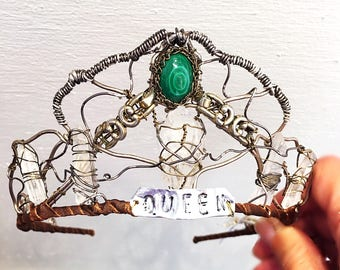 Lord of the Rings Game of Thrones Handmade Powerful Crown Crystals Malachite Crown Forest Wedding Theatrical Wedding Crown Photoprop