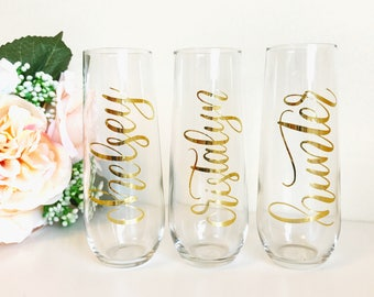 Personalized Champagne Flutes - Stemless Champagne Flutes, Stemless Glasses, Bridesmaid Gift, Bridal Party