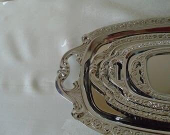 white metal decorative trays set  of five