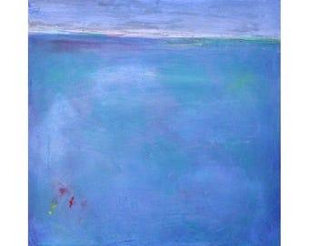Ocean blues turquoise Original Abstract Landscape Painting 12 x 12 square art Dallas artist Paul Ashby MCM