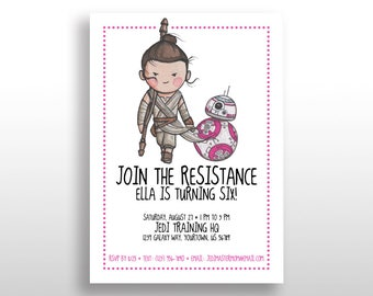 EDITABLE PRINTABLE Pink Star Wars Girl Invitations Rey & BB-8, Birthday Party Invite, Instant Download, The Force Awakens The Last Jedi .pdf