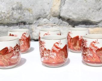 6 Unusual Handpainted Japanese Sake cups Red Bird Gilded Signed Oriental