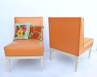 Mid Century Modern Vinyl Atomic Tangerine  Light Orange Pair Of Slipper  Chairs  Livingroom