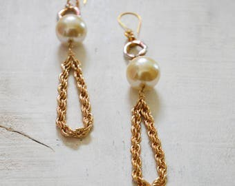 Large Gold Pearl Dangle Earrings