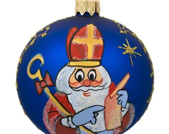 "3.25"" St Nicholas Reading Gifts List in Blue Glass Ball Christmas Ornament"