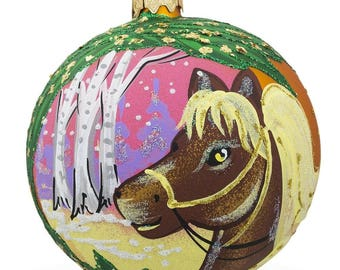 "4"" Horse in the Forest, Animal Glass Ball Christmas Ornament"