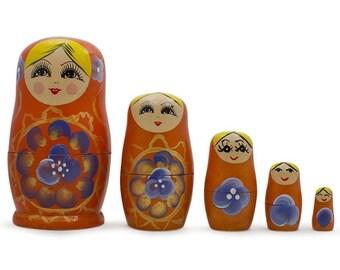 "4.75"" Set of 5 Elena Orange Dress Wooden Russian Nesting Dolls"