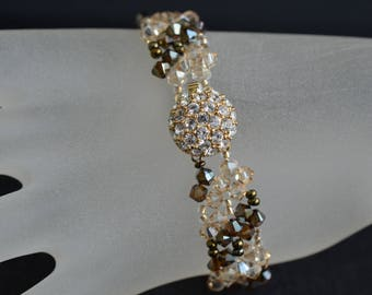 Swarovski crystal bracelet golden shadow and bronze ab2x