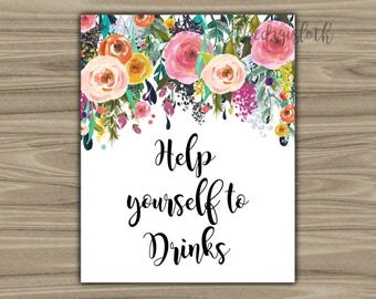 Floral Baby Shower - Drinks - Sign - PRINTABLE - INSTANT DOWNLOAD - Help Yourself To Drinks - Shabby Chic - Baby Shower - Sign - 075