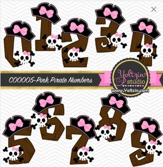 Girl Pirate Hat Numbers Cute Digital Clipart Commercial Use