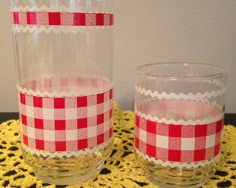 Vintage Libbey Red Gingham & Rickrack Tumbler and Juice Glass