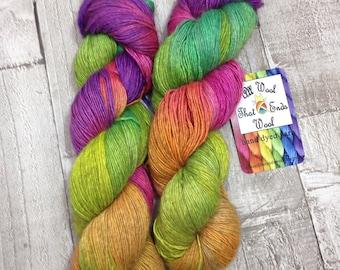 Hand dyed yarn sock 'Highlighters' 65% superwash merino 20 silk 15 Yak singles/ hand dyed shawl yarn/ knitting yarn/ crochet yarn/ uk