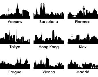 Cities svg, town Silhouette png, eps, svg, dxf, Cities Clipart, Cities SVG Files, town Vinyl, Cities Vector files