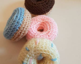 Crochet play food doughnuts. CE marked toys, play food