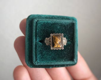 Vintage Tigers Eye Cameo Ring