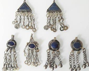 Set of 6 pendants with lapis lazuli Turkmen