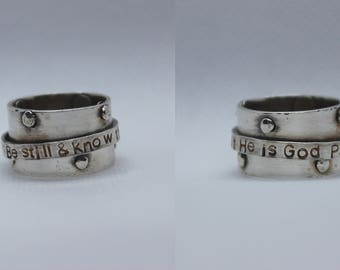 Be still and Know Psalm 925 sterling silver rivet spinner ring, size 7