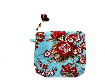 Indian Cotton Banjara Floral Design Clutch Bag in Multi Color