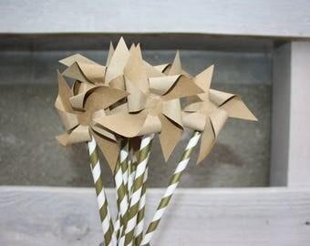 Set of 10 kraft pinwheels
