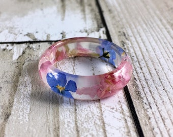 Resin ring-pink ring-forget me not-forget me not jewelry-resin rings-resin jewelry-blue flower ring-pink flower ring-terrarium jewelry