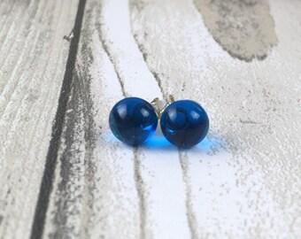 Stud earrings-glass studs-fused glass earrings-tiny stud earrings-blue studs-Christmas gift-secret santa-stocking filler-gift