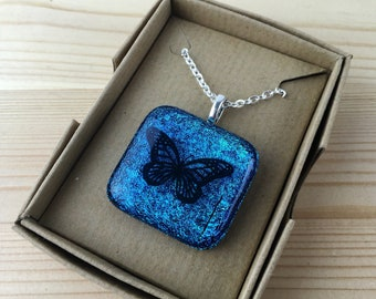 Blue butterfly dichroic glass pendant-dichroic glass necklace-gift for her-girlfriend gift-fused glass-butterfly pendant