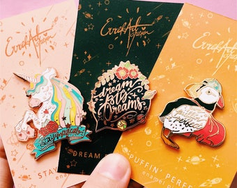 enamel pins seconds sale • slightly flawed pins • minor cosmetic flaw • puffin perfect • dream big dreams • unicorn stay magical •