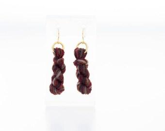 Firewood Yarn Skein Earrings