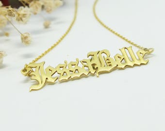 Nameplate Necklace Old English Necklace Gold Name Necklaces for Women Personalized Jewelry Custom Name Plate Necklace Personalized Gift