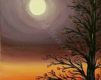 Autumn Moon - Original Acrylic Painting Art Print