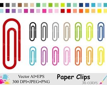 Rainbow Paper Clips Clip Art, School Supplies Clipart, Paper Clip Planner Stickers Clipart, Instant Digital Download Vector Clip Art